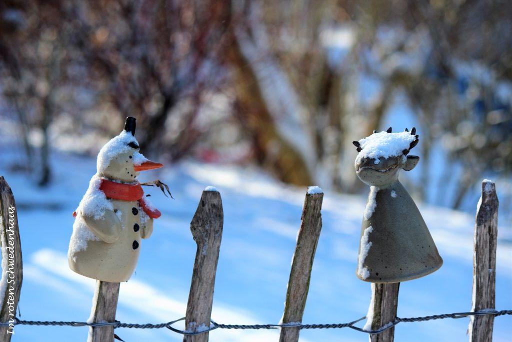 Pfostenhocker im Schnee